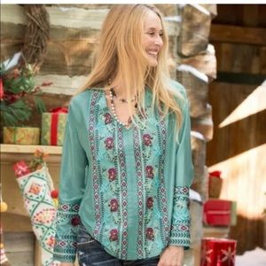 Sundance Blushing Roses Silk Embroidered Tunic S